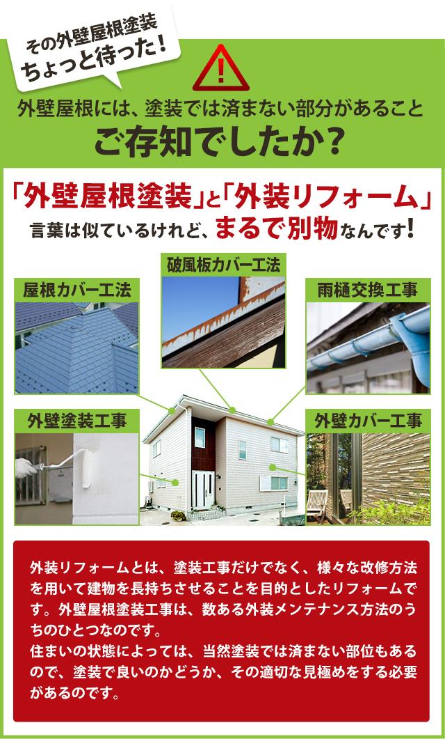 「外壁屋根塗装」と「外装リフォーム」言葉は似ているけれど、まるで別物なんです!