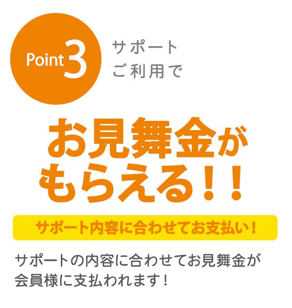 Point3 サポートご利用で お見舞金がもらえる!! サポート内容に合わせてお支払い! サポートの内容に合わせてお見舞金が会員様に支払われます!