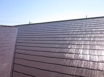 まぶしいくらいにツヤが出たコーヒーブラウン色の屋根に仕上がりました!