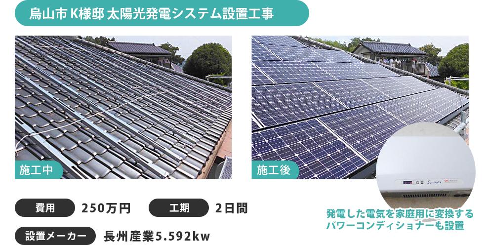 烏山市 K様邸 太陽光発電システム設置工事